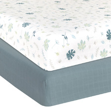 Living Textiles 2 Piece Banana Leaf & Teal Cot Fitted Sheet Set