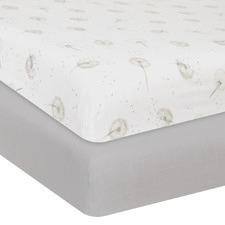 Living Textiles 2 Piece Dandelion & Grey Cot Fitted Sheet Set
