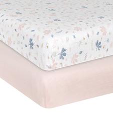 Living Textiles 2 Piece Botanical & Blush Cot Fitted Sheet Set