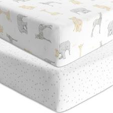 Living Textiles 2 Piece Savanna Cotton Cot Fitted Sheet Set