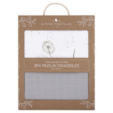 Living Textiles 2 Piece Dandelion & Grey Muslin Swaddling Wraps