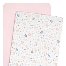 Living Textiles 2 Piece Botanical & Blush Cradle Fitted Sheet Set