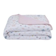Living Textiles Botanical & Blush Muslin Pram Blanket