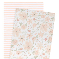 Living Textiles 2 Piece Meadow & Blush Stripe Bassinet Fitted Sheet