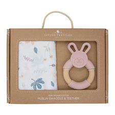 Living Textiles 2 Piece Botanical & Blush Swaddle & Teether Set