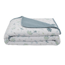 Living Textiles Banana Leaf & Teal Muslin Pram Blanket
