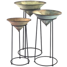 3 Piece Metal Bowl Planters on Stand Set