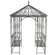 Metal Garden Gazebo with Built-In Benches