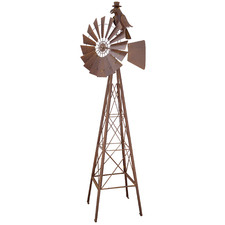 Metal Windmill With Crow