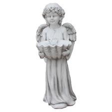 Angel with Shell Birdfeeder Fibrestone Statue