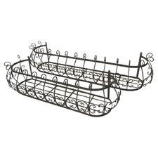 2 Piece Wrought Iron Wall Planter Set