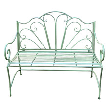 Antique Green Ava Steel Garden Bench
