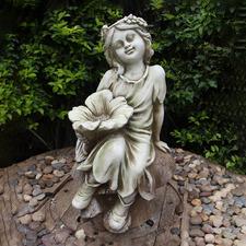 Fairy On A Mushroom Birdfeeder Fibrestone Statue