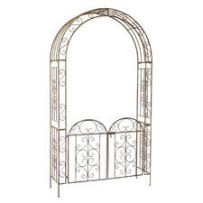 Antique Bronze Steel Garden Arch with Gate