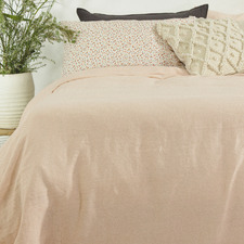 Blush Double-Stitched French Linen Quilt Cover