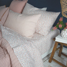 Ivory Spotted French Linen Fitted Sheet