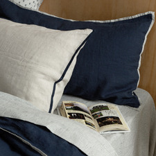 Navy Candy-Stripe Trim French Linen Pillowcase