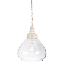 Lyons Glass & Wood Pendant Light
