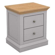 Grey & Natural Curtis 2 Drawer Bedside Table