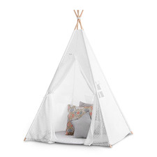 Kids' White  Cotton Teepee Tent with Lace font