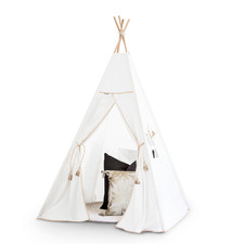Kids' White Cotton Teepee Tent with Tan Leatherette Trim