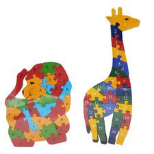 Reversible Giraffe & Lion Wooden Animal Puzzle