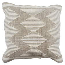 Grey & Cream Embroidered Cotton Cushion