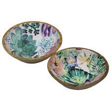 2 Piece Floral Wooden Serving Bowl Set