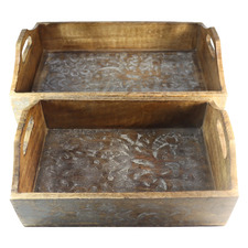 2 Piece Distressed Brown Decorative Tray Set (Set of 2)