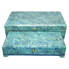 2 Piece Blue Embossed Storage Box Set (Set of 2)