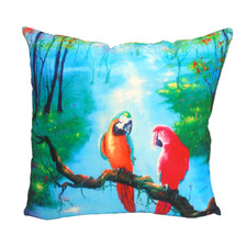 Tropical Parrots Cotton Cushion