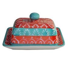 Multi-Coloured Ceramic Butter Dish