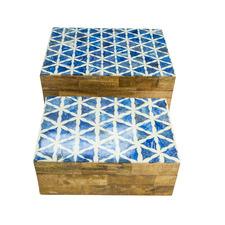 2 Piece Printed Bone Jewellery Box Set