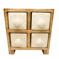 White Embossed 4 Drawer Box