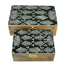 2 Piece Aviery Bone Storage Box Set