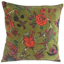 Green Floral Velvet Cushion