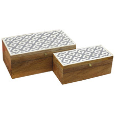 2 Piece Naomi Mango Wood Jewellery Box Set