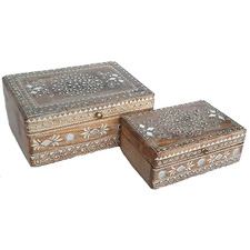 2 Piece Jalah Mango Wood Jewellery Box Set