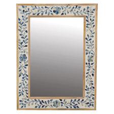 Blue Sheena Mango Wood & Bone Inlay Mirror