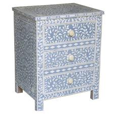 Blue Mona Mango Wood & Bone Inlay Bedside Table