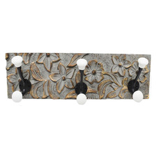 Damien Mango Wood & Steel 6 Hook Wall Hanger