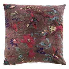 Mushroom Birds & Flowers Cotton Velvet Cushion
