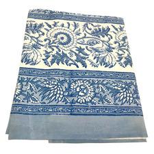 Denim Blue & Cream Cotton Tablecloth