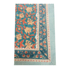 Blue & Red Cotton Tablecloth