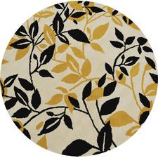 Gold Leaf Halb Round Wool-Blend Rug