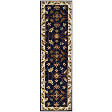 Black & Cream Kashan Wool-Blend Runner