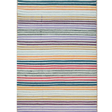 Multi-Coloured Stripes Hand Woven Wool Rug