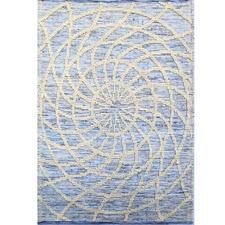 Ivory & Blue Zaal Hand Woven Wool Rug