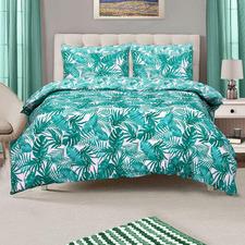 Green Tropical Reversible Queen Cotton Quilt Cover Set