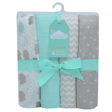 4 Piece Clouds Cotton Baby Blanket Set